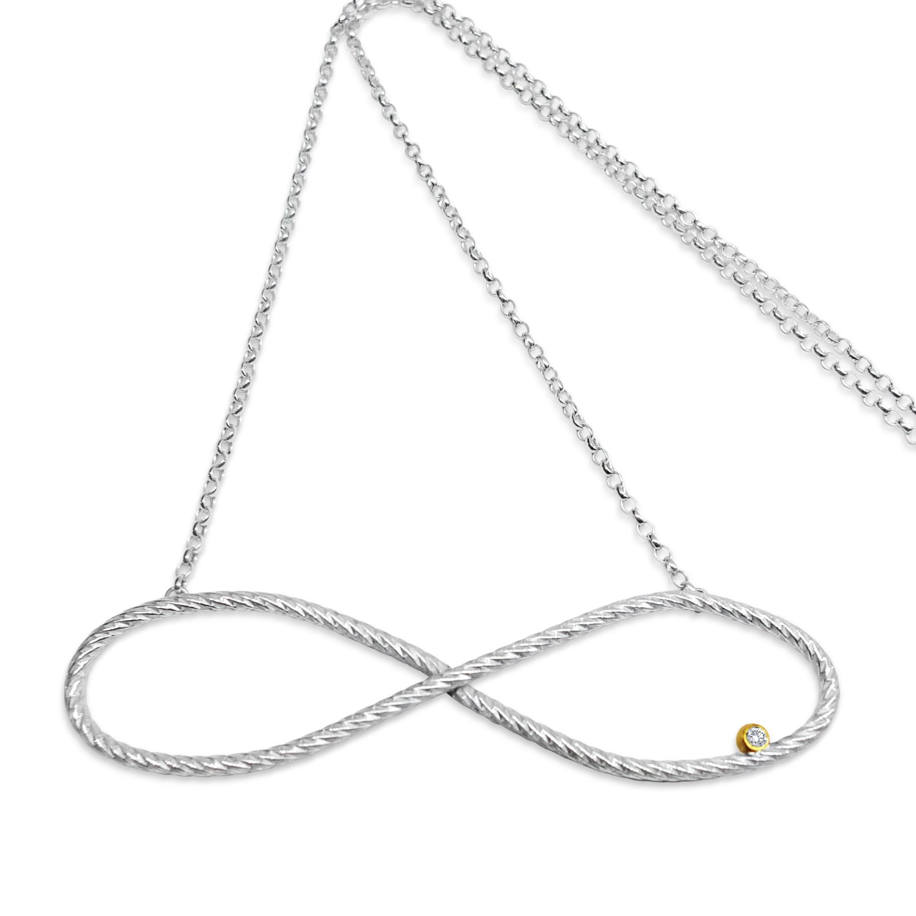 Infinity Belle Necklace — Silver & Yellow Gold MacAngus Designs